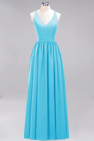 Affordable Chiffon V-Neck Sleeveless Lace Bridesmaid Dress Online_24