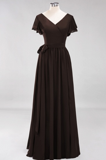 Burgundy V-Neck Long Bridesmaid Dress With Short-Sleeves_11