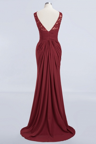 BMbridal Mermaid Scoop Sleeveless Lace Burgundy Bridesmaid Dresses with Pleats_9