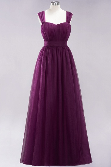 Gorgeous Sweetheart Straps Ruffle Burgundy Bridesmaid Dresses Online_19