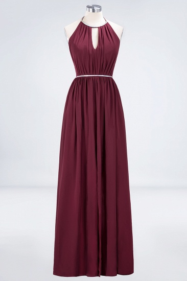 Chic Burgundy Halter Long Backless Bridesmaid Dress with Beadings_9