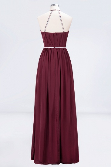 Chic Burgundy Halter Long Backless Bridesmaid Dress with Beadings_10