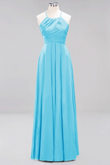BMbridal Halter Crisscross Pleated Bridesmaid Dress Blue Chiffon Sleeveless Maid of Honor Dress_24