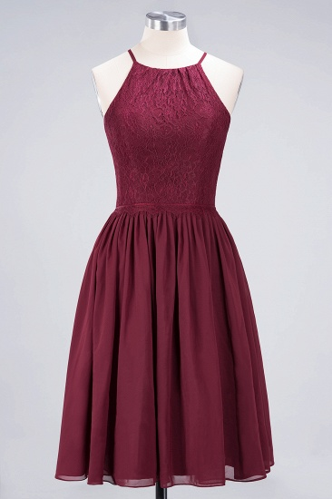 Lovely Burgundy Lace Short Bridesmaid Dress With Spaghetti-Straps_59