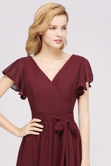 Burgundy V-Neck Long Bridesmaid Dress With Short-Sleeves_56