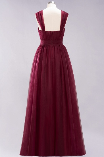 Gorgeous Sweetheart Straps Ruffle Burgundy Bridesmaid Dresses Online_38