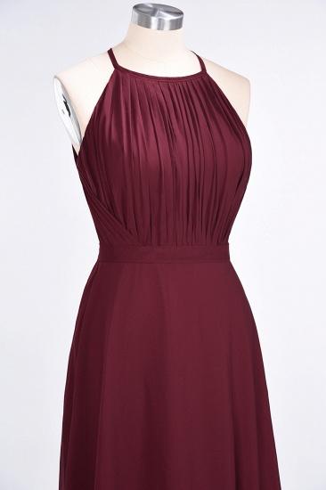 Modest Chiffon Jewel Ruffle Burgundy Long Bridesmaid Dresses Online_6