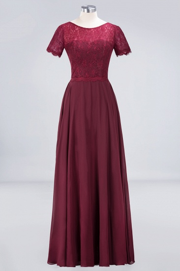 Chic Lace Long Burgundy Backless Bridesmaid Dress With Short-Sleeves_10
