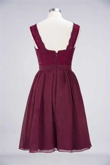Elegant Lace V-Neck Short Burgundy Chiffon Bridesmaid Dress with Ruffle_10