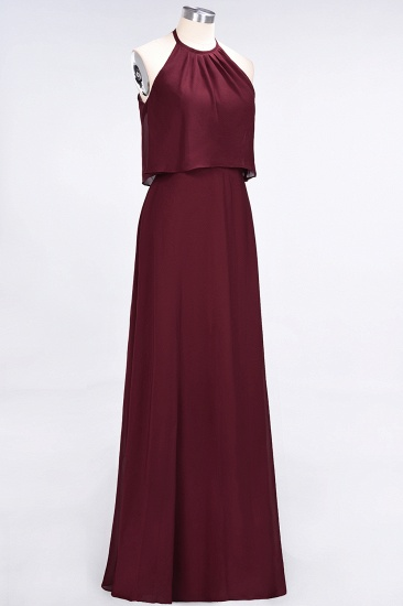 Gorgeous Chiffon Flounced Crinkle Sheath Long Burgundy Bridesmaid Dresses_53