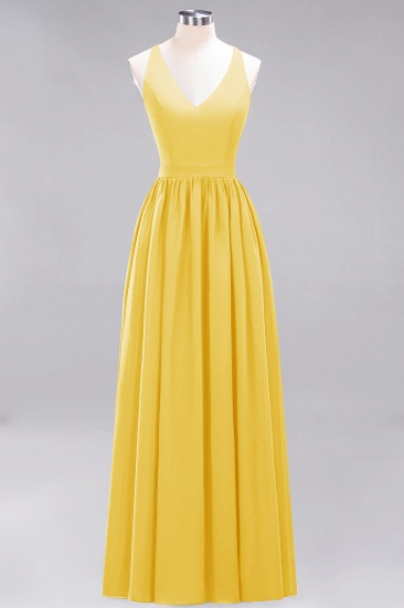 Affordable Chiffon V-Neck Sleeveless Lace Bridesmaid Dress Online_17