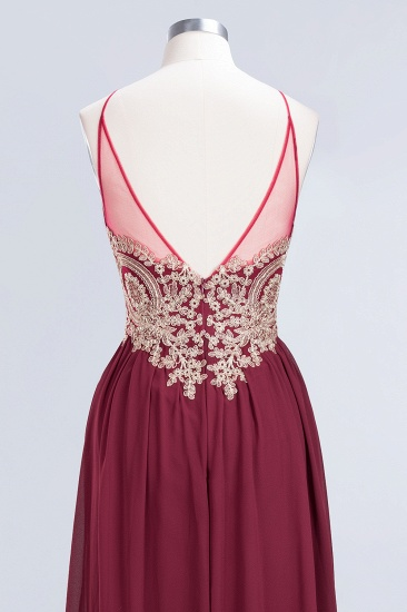 Chic Spaghetti Straps Long Burgundy Backless Bridesmaid Dress with Appliques_9