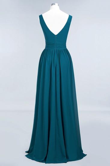 Modest Sleeveless V-Neck Long Chiffon Bridesmaid Dress Online with Ruffle_62
