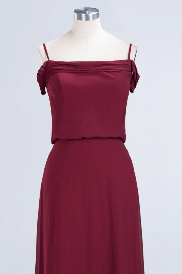 Elegant Off-the-Shoulder Burgundy Bridesmaid Dress Online Spaghetti-Straps Cheap Maid of Honor Dress_11