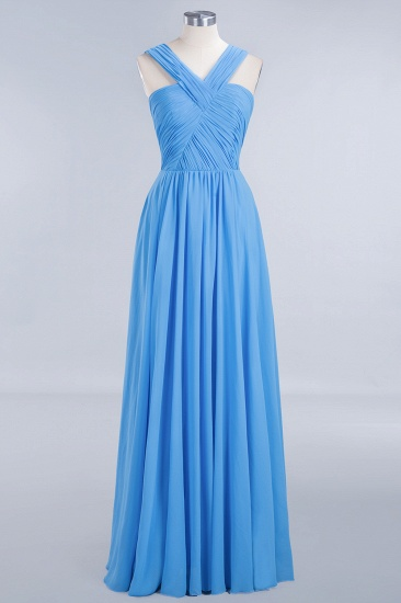 Chic Crisscross Ocean Blue Junior Bridesmaid Dresses Affordable Chiffon Ruffle Maid of Honor Dresses_1