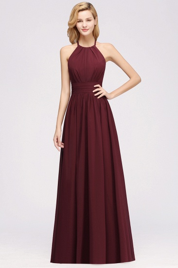 Elegant High-Neck Halter Long Affordable Bridesmaid Dresses with Ruffles_67