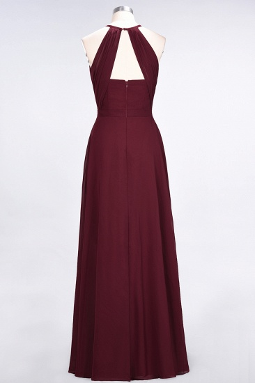 Modest Chiffon Jewel Ruffle Burgundy Long Bridesmaid Dresses Online_3