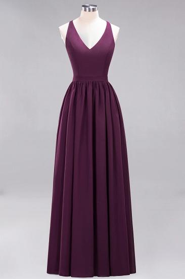 Affordable Chiffon V-Neck Sleeveless Lace Bridesmaid Dress Online_20