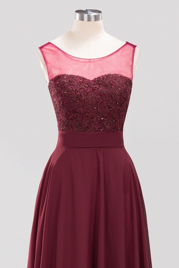 BMbridal Gorgeous Lace Jewel Affordable Pink Bridesmaid Dress with Beadings_6