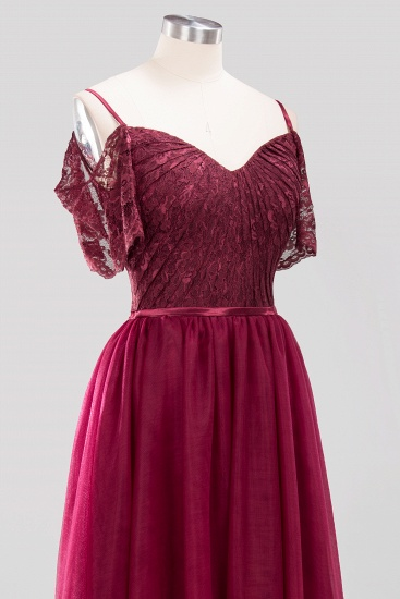 Affordable Chiffon Off-the-Shoulder Burgundy Lace Bridesmaid Dresses_8