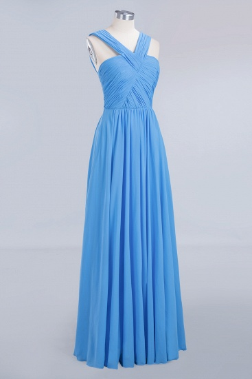Chic Crisscross Ocean Blue Junior Bridesmaid Dresses Affordable Chiffon Ruffle Maid of Honor Dresses_10