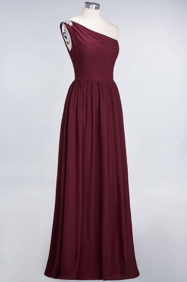 Affordable Chiffon One-Shoulder Ruffle Bridesmaid Dress with Beadings_55