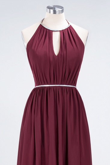 Chic Burgundy Halter Long Backless Bridesmaid Dress with Beadings_12