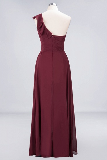 BMbridal Gorgeous Sweetheart Ruffle Burgundy Chiffon Bridesmaid Dress With One-shoulder_11