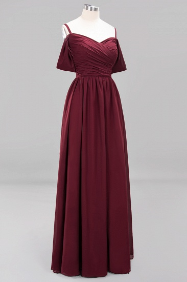 Chic Off-the-shoulder Burgundy Bridesmaid Dress with Spaghetti Straps_60