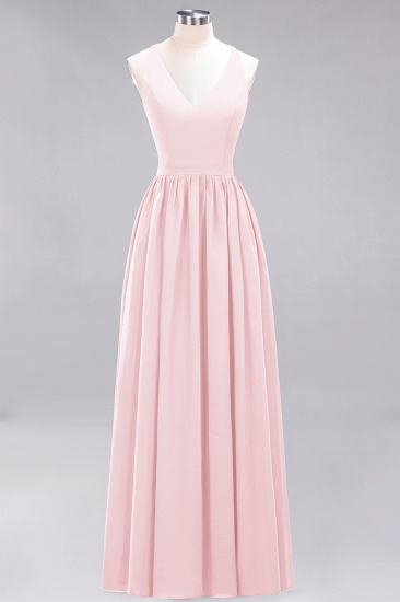 Affordable Chiffon V-Neck Sleeveless Lace Bridesmaid Dress Online_3