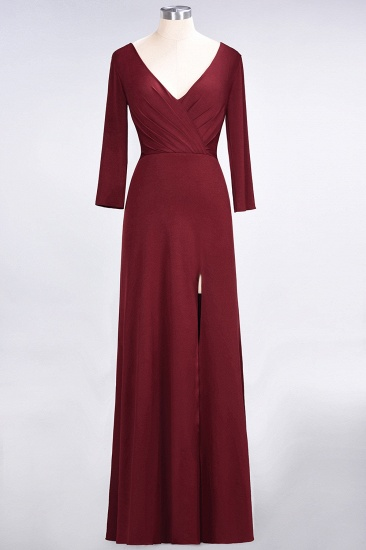Popular Spandex Long-Sleeves Burgundy Bridesmaid Dresses with Side-Slit_38