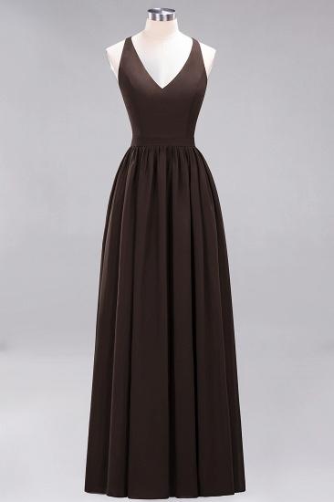 Affordable Chiffon V-Neck Sleeveless Lace Bridesmaid Dress Online_11