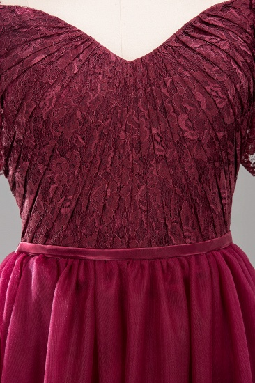 Affordable Chiffon Off-the-Shoulder Burgundy Lace Bridesmaid Dresses_10