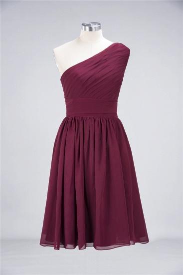 Chiffon One Shoulder Ruffle Short Burgundy Bridesmaid Dresses Online_11