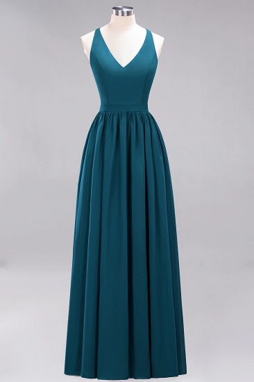 Affordable Chiffon V-Neck Sleeveless Lace Bridesmaid Dress Online_27