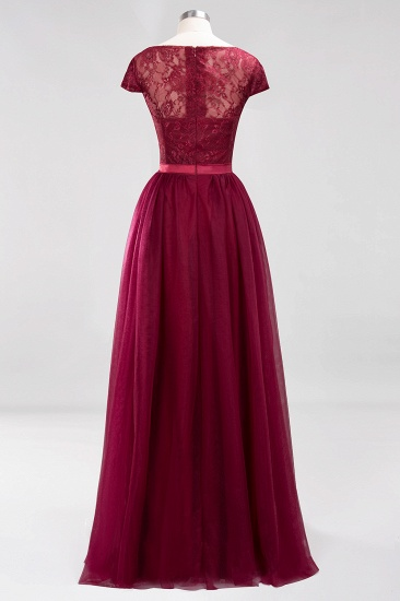 Elegant Lace Cap Sleeves Burgundy Bridesmaid Dresses Affordable_10