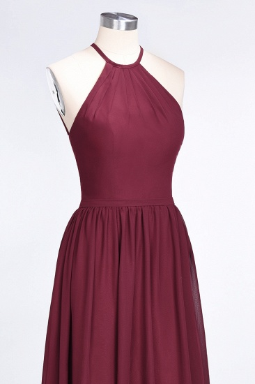 Affordable Halter Sleeveless Long Burgundy Bridesmaid Dress with Ruffle_57