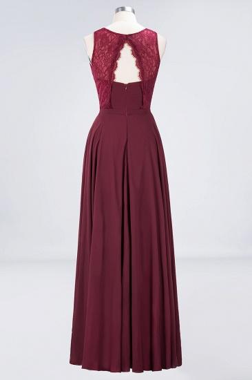 BMbridal Elegant Roud Neckline Sleeveless Burgundy Lace Bridesmaid Dress Online_8