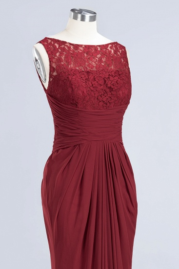 BMbridal Mermaid Scoop Sleeveless Lace Burgundy Bridesmaid Dresses with Pleats_12