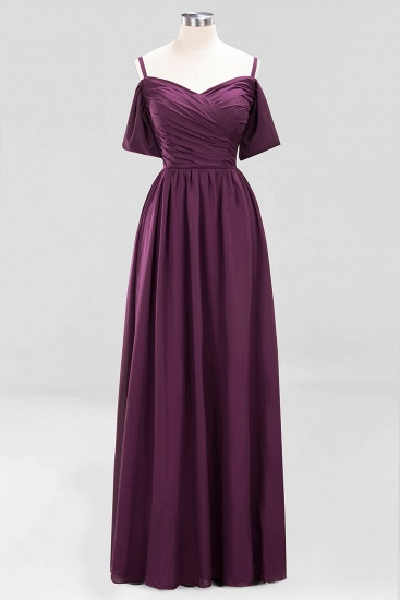 Chic Off-the-shoulder Burgundy Bridesmaid Dress with Spaghetti Straps_20