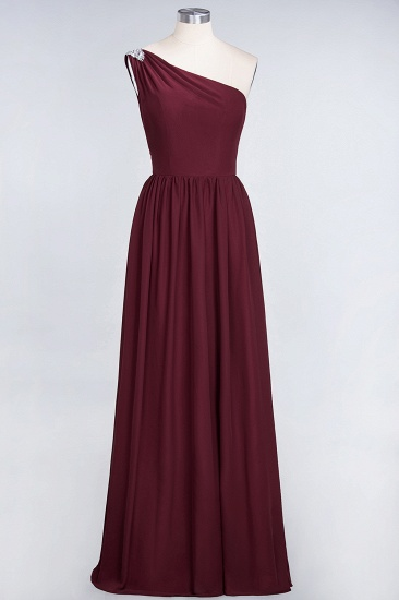 Affordable Chiffon One-Shoulder Ruffle Bridesmaid Dress with Beadings_53