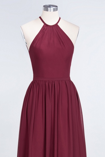 Affordable Halter Sleeveless Long Burgundy Bridesmaid Dress with Ruffle_56
