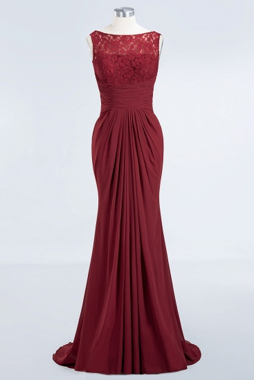 BMbridal Mermaid Scoop Sleeveless Lace Burgundy Bridesmaid Dresses with Pleats_8