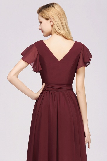Burgundy V-Neck Long Bridesmaid Dress With Short-Sleeves_57