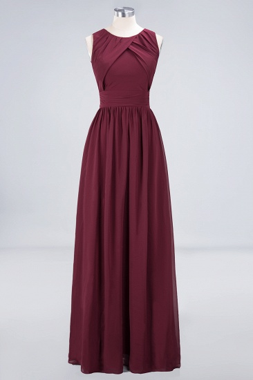 BMbridal Modest Round-Neck Sleeveless Burgundy Bridesmaid Dresses with Ruffles_9
