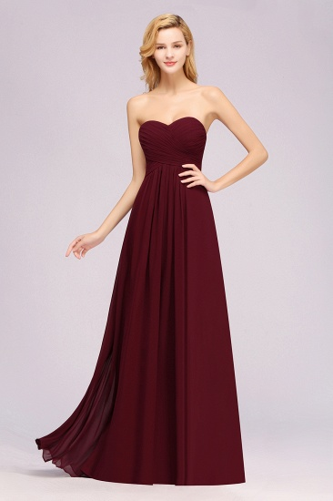 Vintage Sweetheart Long Grape Affordable Bridesmaid Dresses Online_10
