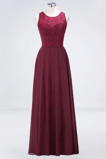 Elegant Roud Neckline Sleeveless Burgundy Lace Bridesmaid Dress Online_7
