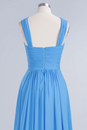Chic Crisscross Ocean Blue Junior Bridesmaid Dresses Affordable Chiffon Ruffle Maid of Honor Dresses_12