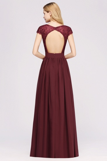 Elegant Lace Open-Back Long Burgundy Bridesmaid Dresses Online_3