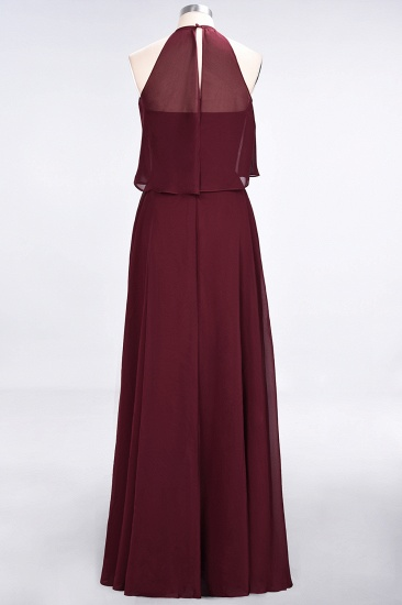 BMbridal Gorgeous Chiffon Flounced Crinkle Sheath Long Burgundy Bridesmaid Dresses_52